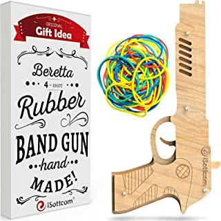 Rubber Band Gun – Boys Toys for Outdoor Indoor Game – Wooden Toy Guns – Best Gift for Men – Wooden Pistol for Shooting Game – Kids Toys for Pretend Play – Gag Gift – Toy Gun Type BE by iSottcom