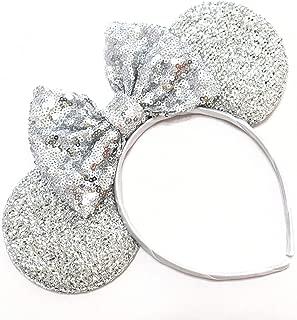 Silver Mickey Ears, Sparkly Mickey Ears, Disney Ears, Bachelorette Mickey Ears, Bridal Mickey Ears, Minnie Ears, Silver Mickey Ears