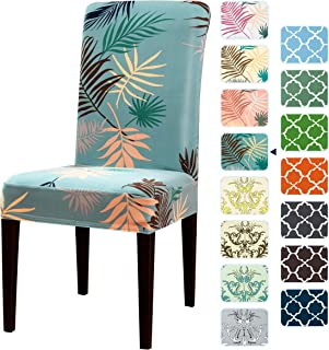 subrtex Printed Slipcovers Stretch Removable Washable 2 Pieces Elastic Parsons Chair Seat Covers for Dining Room Kitchen Green, 2