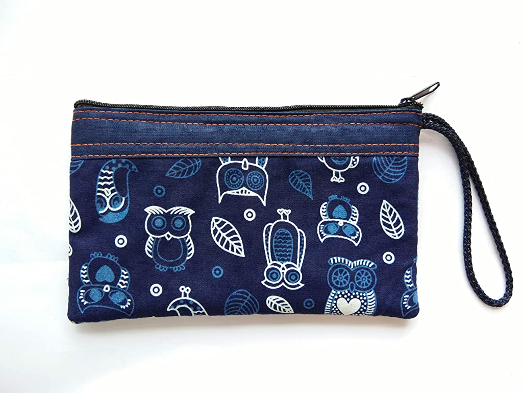 cushystore Bohemian Pencil Stationery Bag Blue Navy Gypsy Owl Little Birds Pen White Cotton Cosmetic Makeup Fabric Bag Zipper Zip Purse Pouch School Children Kid Case Handmade Craft Handicraft
