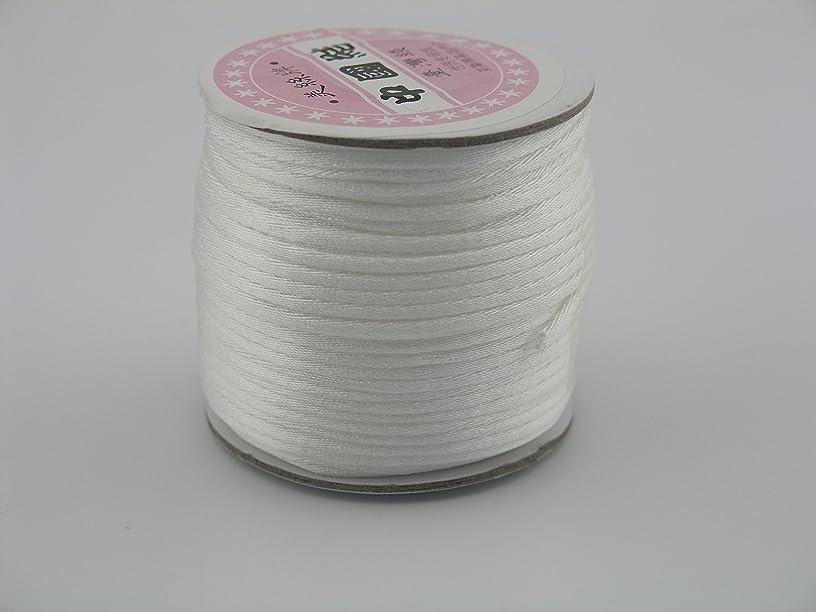 KONMAY 50 Yards 2.0MM Rattail/Bugtail Satin Silk Cord Shamballa Macrame Beading Nylon Kumihimo String (White 800)