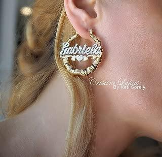 bamboo nameplate earrings