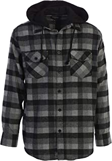 Gioberti Men's Removable Hood Plaid Checkered Brushed Flannel Button Down Shirt