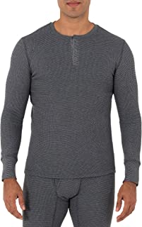 Fruit of the Loom Men's Recycled Waffle Thermal Underwear Henley Top (1 and 2 Packs)