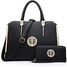 Dasein Women Large Handbag Purse Vegan Leather Satchel Work Bag Shoulder Tote with Matching Wallet