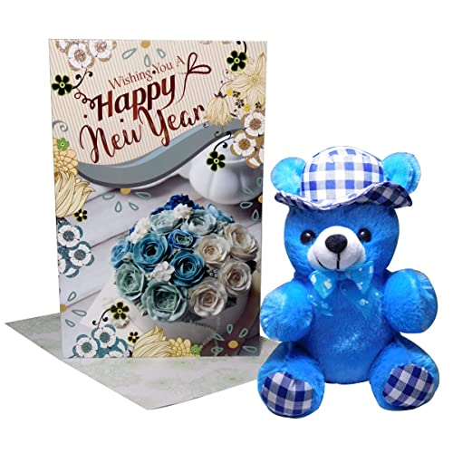 New Year Gifts for Love - Happy New Year Greeting Card, Blue Teddy Bear