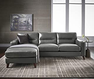 Hydeline Elm 100% Leather Set, Silver Gray (Left Chaise, Slate)