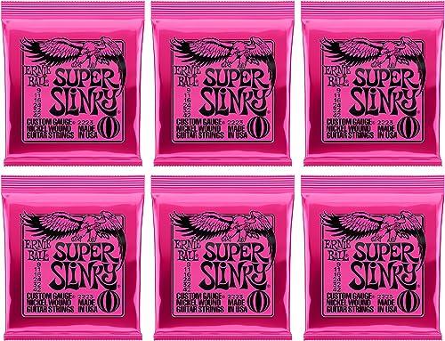 Ernie Ball Super Slinky Nickel Wound Sets, .009 - .042, (6 pack)