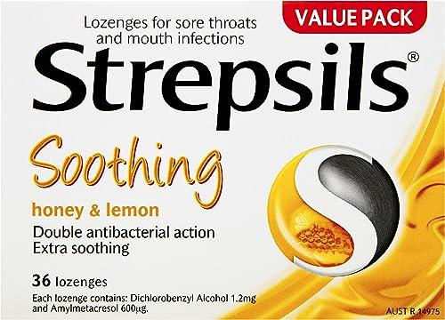 Strepsils Double Antibacterial Soothing Sore Throat Lozenges Honey and Lemon (36 Pack)