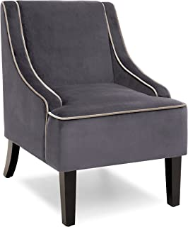 Best Choice Products Microfiber Accent Chair w/Tapered Wood Legs (Gray)