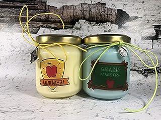 Grazie Maestra 2 vasetti con candele di cera di soia e oli essenziali - Regalo per la Maestra Fine anno scolastico Ritorno...