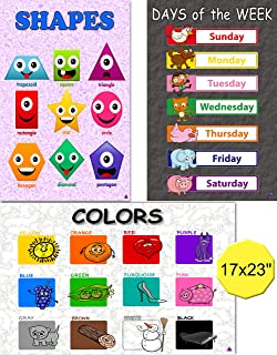 Colors, Shapes, Days of The Week Preschool Posters- Laminated 17x23 in. - Large Classroom Charts for Educational Learning, Toddlers, Kindergarten, Daycare Decorations, Teacher Supplies