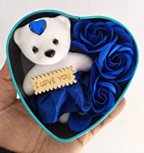 SillyMe Valentine Gift - 1 Cute Teddy with 3 Roses in Small Heart Shaped Box (Blue)