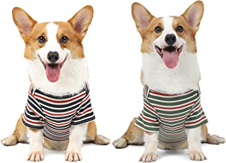 Knuffelen Dog Shirts Cotton Striped T-Shirt, Summer Pet Clothes for Small Dogs, 2-Pack Soft Puppy Apparel Cat Tee, Breatha...