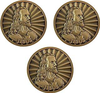Jesus Coin, Bulk Pack of 3, Head of Christ by Warner Sallman Challenge Coin, Easter Handout, KJV Bible Verse Prayer Token,...