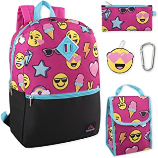 Trailmaker 5 in 1 Full Size Character School Backpack and Lunch Bag Set For Girls (Smiles)