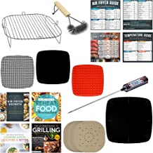 Air Fryer Cooking and Baking Accessories Compatible with Power Airfryers, NuWave, Cuisinart, Cook's Essentials, Sarki – Rack, Grill brush, Basket Liner, Grilling Mats, Parchment Paper, Cheat Sheets