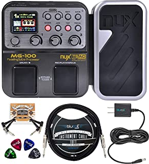 NUX MG-100 Multi Effects Processor Bundle with Blucoil Slim 9V Power Supply AC Adapter, 10-FT Straight Instrument Cable (1...