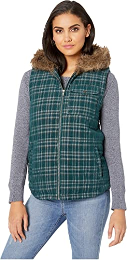 Power Cord Corduroy Plaid Vest with Fur-Lined Hood