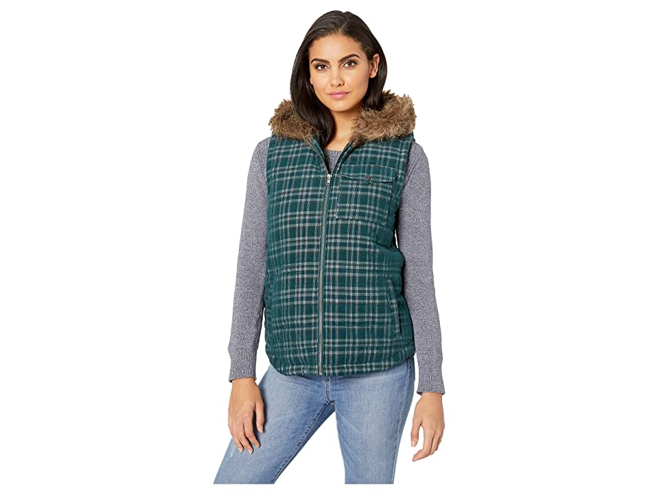 Jack by BB Dakota Power Cord Corduroy Plaid Vest with Fur-Lined Hood (Hunter Green) Women