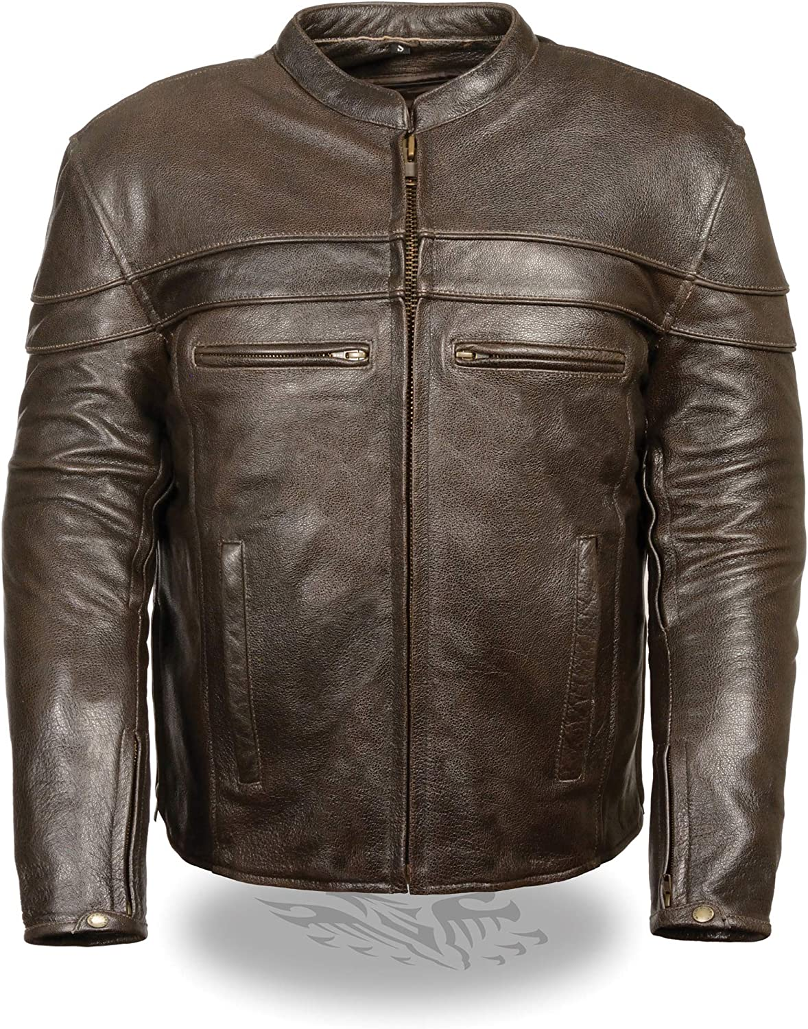 Mens Retro Leather Sporty Scooter Crossover Jacket, Brown Size XL