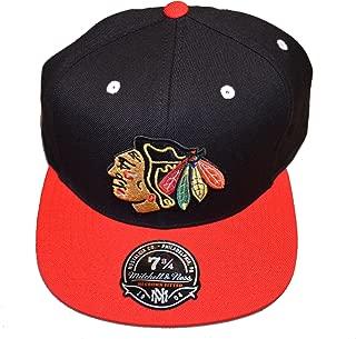 Mitchell & Ness High Crown XL Logo Fitted Hat - NHL Flat Bill Baseball Cap