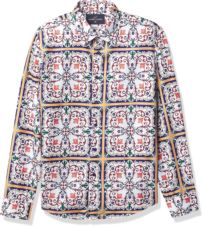 Azaro Uomo Men's モデル着用&注目アイテム Shiny Dress 爆売り Shirt Do Wrinkle Free Casual Button