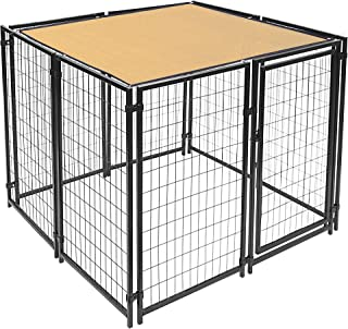 ALEKO PLK0505BE Pet Dog Kennel Sun Shade Cover Weather Protection with Aluminum Grommets 5 x 5 Feet Beige