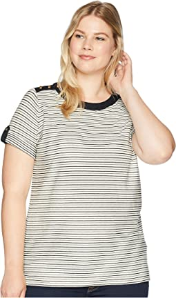 Plus Size Striped Button-Shoulder Top