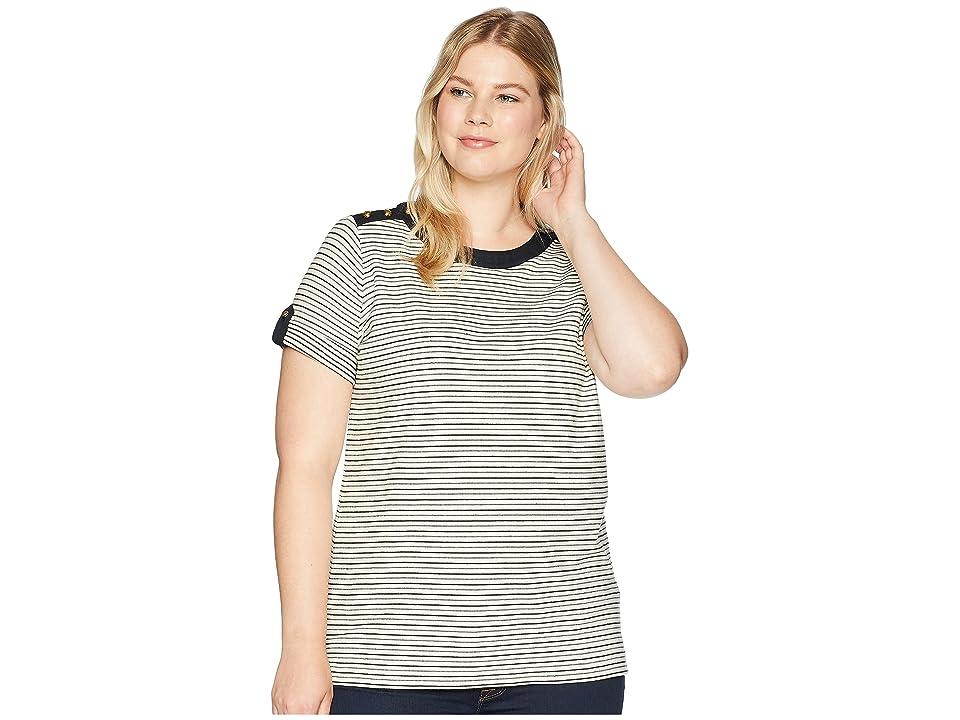 LAUREN Ralph Lauren Plus Size Striped Button-Shoulder Top (Parchment/Polo Black) Women