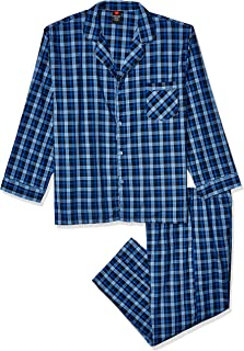 Hanes Big and Tall Men's Woven Plain-Weave Pajama Set, Navy, Extra Large