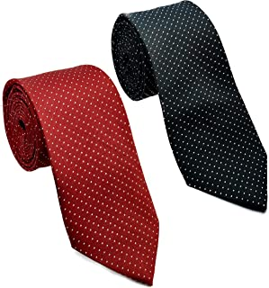 Luxeis Men Premium Neck Tie Combo (Black, Maroon; Free Size) (Pack of 2)