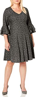 GABBY SKYE Women's Plus Size 3/4 Tiered Sleeve V-Neck Knit Fit and Flare Dress