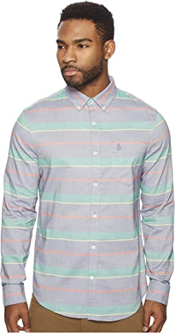 Original Penguin - Long Sleeve Stripe w/ Stretch Chambray Shirt