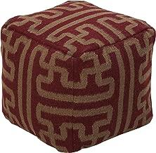 Smithsonian by Surya Hand Made 100% Wool Plum 18 x 18 x 18 Pouf