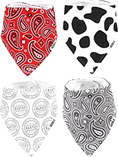 Stadela Baby 100% Cotton Bandana Drool Bibs for Drooling and Teething Nursery Burp Cloths 4 Pack Unisex Baby Shower Gift Set for Girl and Boy ? Western Baby Cowboy Cowgirl Cow Skin Paisley Wild West