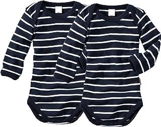 wellyou Baby und Kinder Langarmbody/Babybody mädchen und Junge aus 100% Baumwolle, Langarm Body 2er Set in Marine weiß gr 50-134