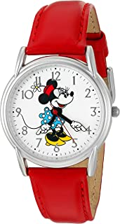 Disney Women's 'Minnie Mouse' Quartz Metal Watch, Color:Red (Model: W002768)