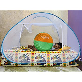 Cratos Single Bed Mosquito Net - Foldable - (Blue/Green Border)