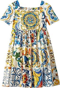 06c57d48 Maioliche Print. 7. Dolce & Gabbana Kids. Poplin Maioliche Short Sleeve  Dress (Toddler/Little ...