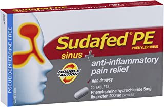 SUDAFED PE Double Action Sinus/Anti-Inflammatory 20, 0.0219 Kilograms