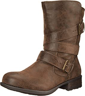 Women's Islet Motorcycle Buckle Mid Calf Low heel Boot