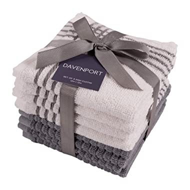KAF Home Davenport 100% Cotton Dish Cloths | Set of 8, 12 x 12 Inches | Absorbent and Machine Washable | Perfect for Cleaning Counters, and Any Household Spills (Gray, 12  x 12 )