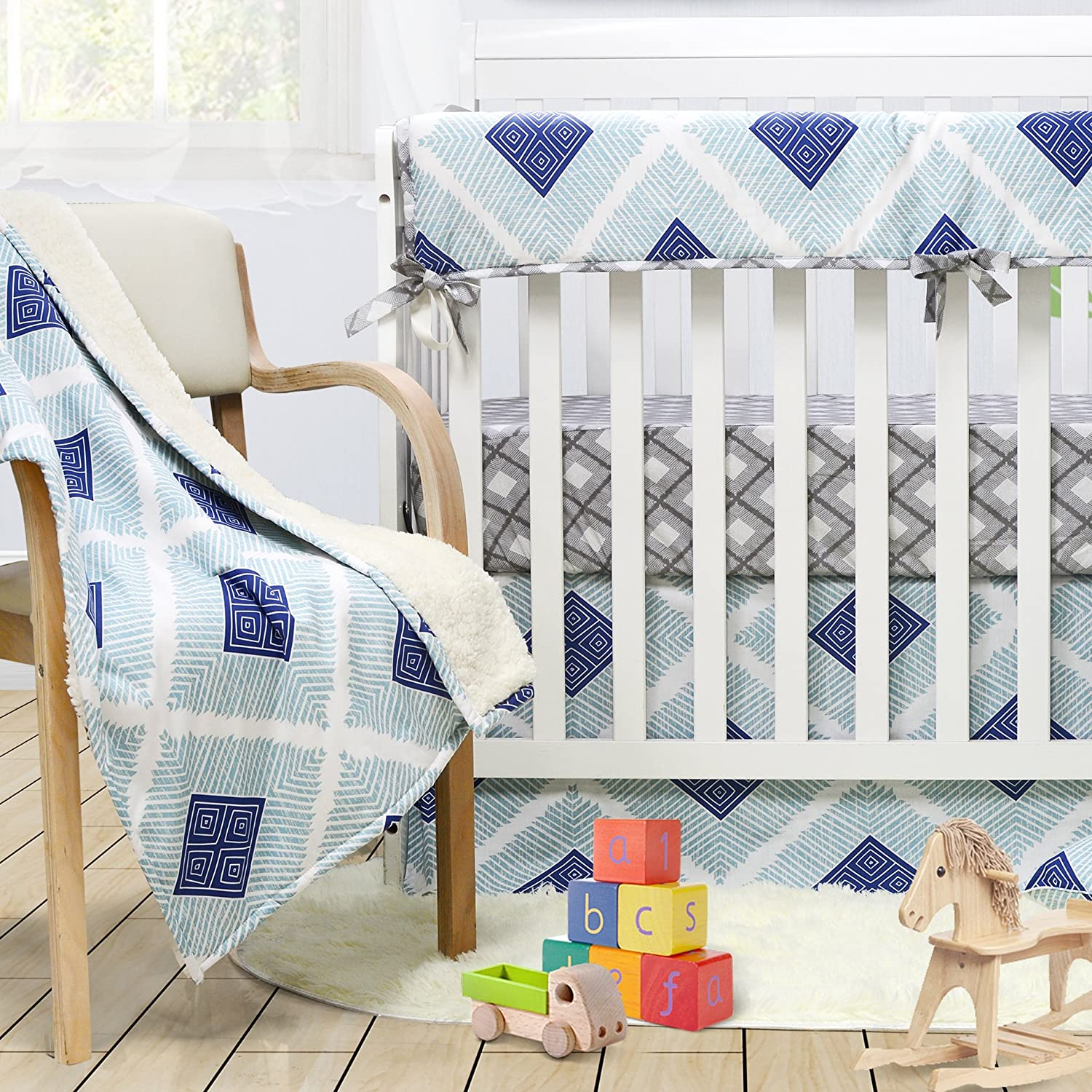 Brandream Boho Plaid Crib Bedding Set for Boys bluee Baby Bedding Crib Set, 100% Soft Cotton, Hypoallergenic & Breathable, 3 Pieces