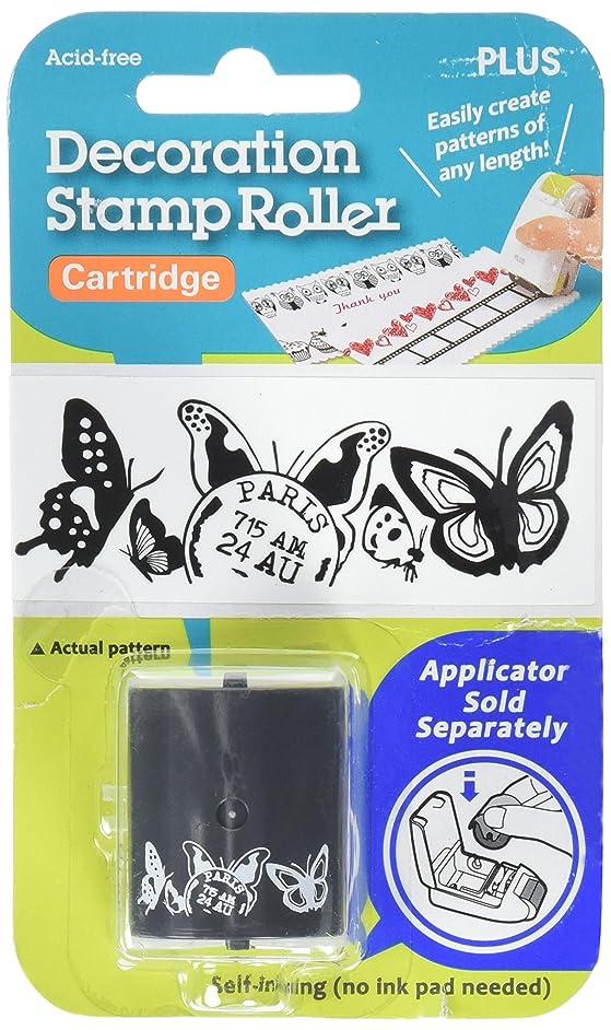 Plus Corporation Decoration Stamp Roller-Butterflies, Black