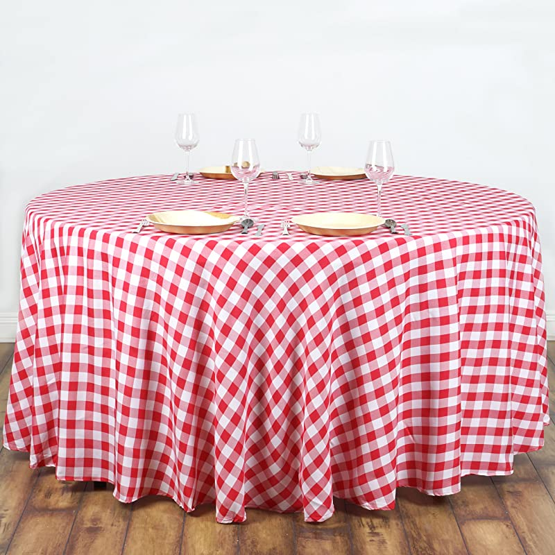Efavormart 108 Round RED White Checkered Wholesale Gingham Polyester Linen Picnic Restaurant Dinner Tablecloth
