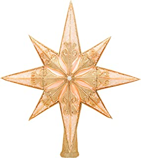 Christopher Radko Hand-Crafted European Glass Christmas Decorative Finial Tree Topper, Champagne Stellar