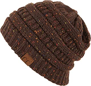 Hatsandscarf CC Exclusives Unisex Ribbed Confetti Knit Beanie (HAT-33) (Brown)