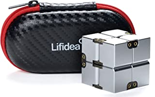 Lifidea Aluminum Alloy Metal Infinity Cube Fidget Cube (5 Colors) Handheld Fidget Toy Desk Toy with Cool Case Infinity Magic Cube Relieve Stress Anxiety ADHD OCD for Kids and Adults (Silver)