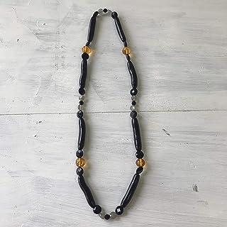 簡単ネックレス 黒珊瑚&オニキス シリコンネックレス